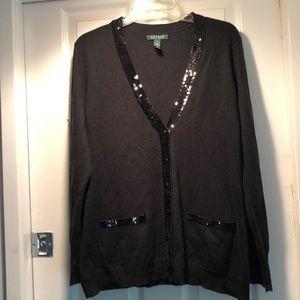Ralph Lauren holiday sequin black cardigan